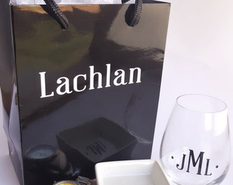 Black Personalized Gift Bags- Grooms, Groomsman, Best man, male gift bags,wedding gift bag,family or friend, Christmas gift bag