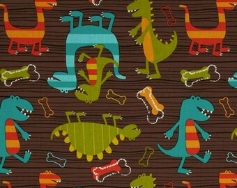 Dino Dudes in brown from Michael Miller -  cotton quilting fabric by the yard