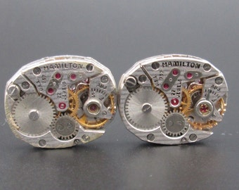 Vintage Watch Movements, Hamilton Pinstripe Movements, Mechanical Watch Movement for Cuff Links, Steampunk or Altered Art (#HM14)