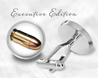 Bullet Cufflinks - Golden Bullet Cuff Links - Groom Gift for Him (Lifetime Guarantee) S0728