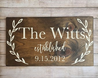 last name sign, family name wood sign, custom wedding gift, wedding established sign, family established sign, wedding gift,