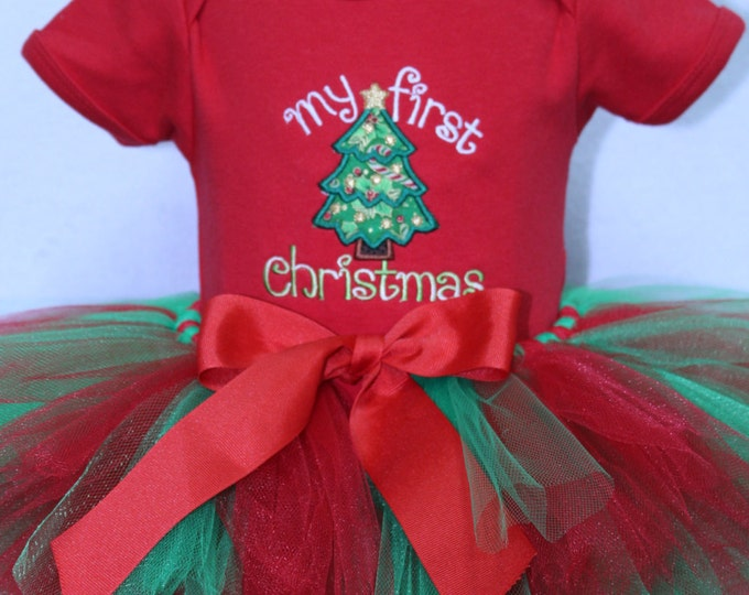 Baby girls First Christmas outfit,girl 1st Christmas,Red,green tutu,Christmas tutu, Personalized Christmas tree bodysuit,Christmas headband