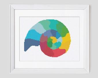 Modern cross stitch pattern, colorful ammonite counted cross stitch pattern, ammonite cross stitch pdf pattern