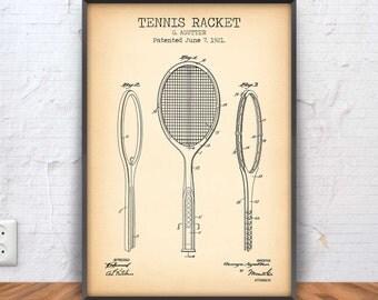 TENNIS RACKET poster, tennis patent print, tennis blueprint, tennis printable, atp, racquet, net, ball, game, set, match, court, #1072