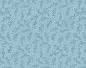Andover Downton Abbey The Women's Collection Blue Feather A 7332 B - Reproduction Fabric