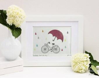 Paper Art Bicycle, Umbrella and Raindrop Picture, 3D paper art, bicycle drawing, raindrops and umbrella art, nursery picture, baby room art