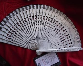 F-0002 - Wooden Hand Painted Hand Fan - Georgian Fan, Regency Fan, Victorian Fan, Hand Fan,