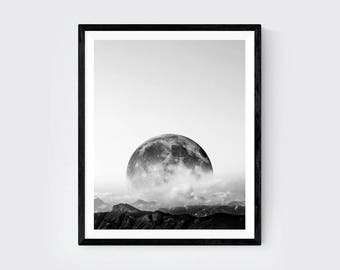 Moon Black and White Photography, Mountain print, Black and White Print, Minimalist Print, Mountain Wall Art, Minimalist Art, Nature print