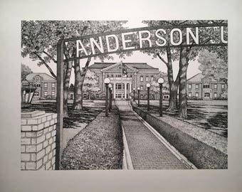 "Anderson 11""x14"" pen and ink print"