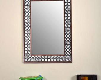 """Decorative Wall Mirror with Ceramic Tile  (17"""" X 25"""")"""