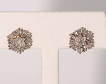 10K Yellow Gold Two Carat Diamond Earrings.  Vintage, Estate. Pierced Ears.  I1-I2. H-I  Rounds & Baguettes