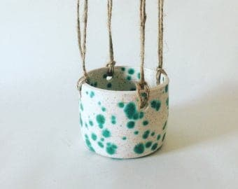 Handmade ceramic hanging planter  / speckled glaze / pottery / gift for her / pottery /wheel thrown