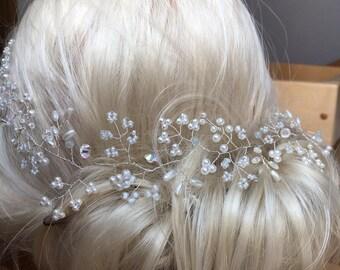 Extra long hair vine tiara Pearl bridal hair accessories wedding headband Crown hairpiece bride Weddeng hair