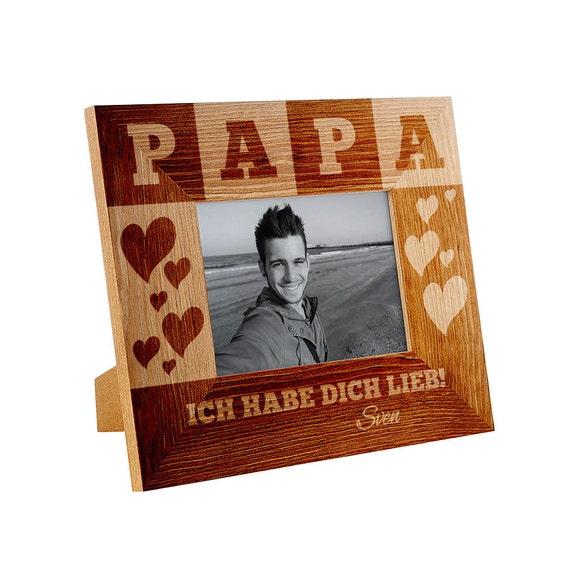 Bilderrahmen aus holz f r papa personalisiert - Bilderrahmen personalisiert ...