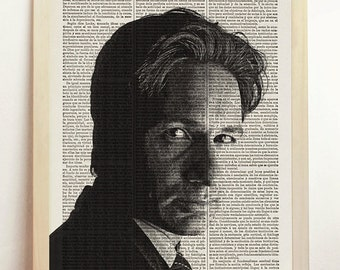 Fox Mulder The X Files I Want to Believe Print Aliens Poster UFO Flying Saucer Scully Art Upcycled Decor Book Dictionary