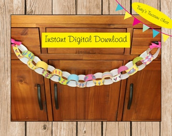 Digital Trolls Paper Chain Template.  Instant Download. Party Decorations. Childrens Craft project. JPG File. Birthday.
