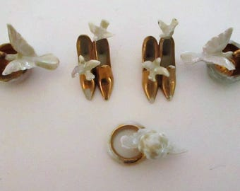 Group Of 5 Antique German Bisque Porcelain Wedding Cake Decorations Miniature Charms Gold Shoes Doves Cherub Rings Toppers Vintage Art Deco