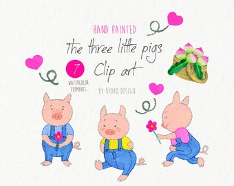 the three little pigs clip art, pigs, vector, nursery art, watercolor, wolf, Children's book, instant download