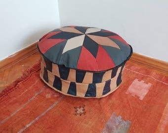 Leather pouf bohemian decoration handmade ottomans leather turkish poufs