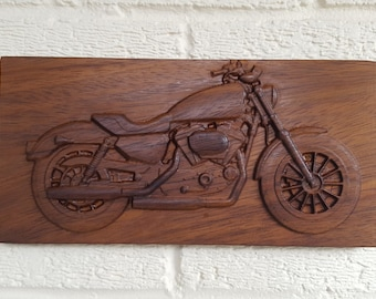 Mahogany Wooden 3D Engraved Carved Vintage Motorbike Harley Davidson Picture wall Art Classic Bike Father's Day Gift Mancave