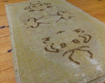 """Antique Cr1900-1939s 1'8""""×3'3"""" Muted Natural Dyes Ushak Rug"""