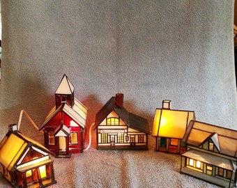 Stained Glass Church and Four Houses - Stained Glass Village - Nightlights
