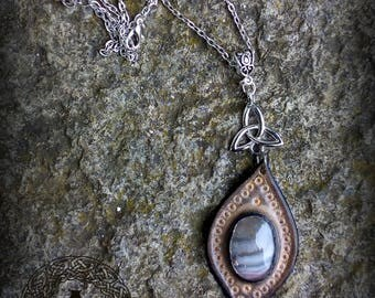 Grey Leather Pendant with Agate Stone Grey