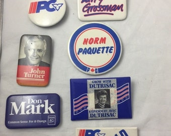 Vintage Canadian Political Campaign Buttons Politics Canada Pin Lot Badges Election Advertising Pinback