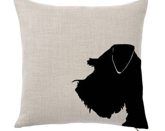 Throw Pillow Cover, Pet Pillow Cover, Schnauzer, Silhouette, Gifts for Dog Lovers, Cotton Throw Pillow, Cute Custom Pillows, Tote Tails