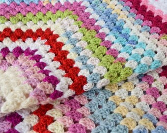 Vintage style Crochet Blanket - Giant Granny square! Retro baby, nursery home