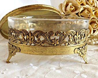 Vintage Powder Dish, Trinket Jewelry Storage, Boudoir Decor, Hollywood Regency, Metal and Glass Powder Dish, Cottage Chic Decor