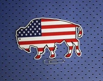 American Flag Buffalo Bumper Sticker