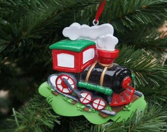 Personalised Christmas decoration, Childs train decoration, family decoration, personalised train decoration, childs christmas decoration