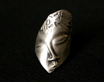 Thracian Мask Ring, Ethnic Ring, Antique Silver Ring, Statement Ring, Brass Ring, Boho Ring, Tribal Ring, Oriental Ring, Mask Ring, Boho
