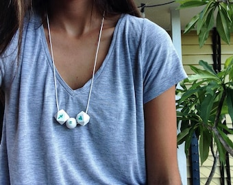 Wooden bead necklace // cross equals love // hand painted wooden bead necklace // aqua on white