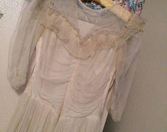 New Listing - Unique Vintage Net 1940s/50s Bridal/ Formal Gown