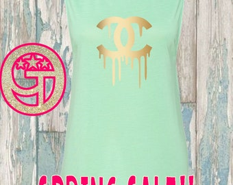 SALE XL Only - Mint Chanel Inspired flowy muscle tank. Limited quantities while they last. Dripping chanel