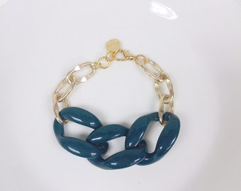 Dark Green Gold Chain Bracelet, Chunky Chain Bracelet, Statement Bracelet, Gold Link Bracelet