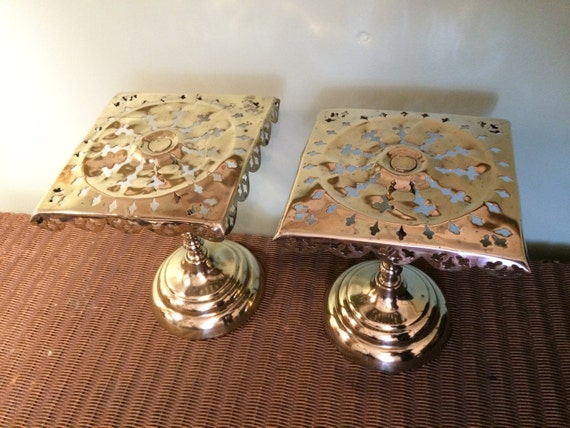 Pair of Ornate Pierced Brass Trivet Plant Stands / Pot Stands - Decorative Brass Ware - English Vintage Kitchen - Country Fireplace Decor