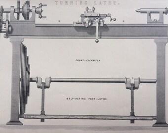 1880 TURNING LATHE Original Antique print - Encyclopaedia Illustration - Steel Engraving - Victorian Engineering - Carpentry - Wood Work