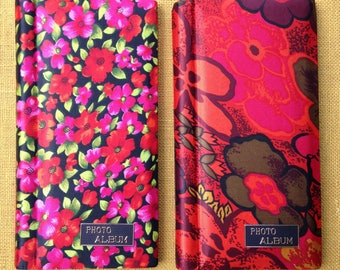 """Two Vintage Photo Albums * Red / Pink / Orange Flowers * Hold 72 Photographs * 3"""" x 3"""" Photos / 3"""" x 4"""" Photo Holder * Fold Out Pages"""