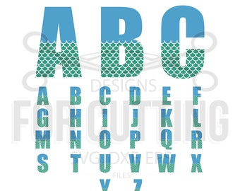 Mermaid Alphabet and NUMBERS, Mermaid Font, Files Studio3, Svg, Dxf, Eps, Mermaids style, Fish font, Digital Files, Instant Download. 0596