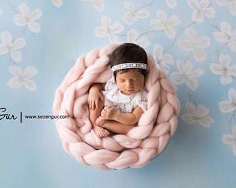 Newborn photo prop Basket Stuffer Wool Roving, Wool Braid , Baby Rove Braid  basket filler