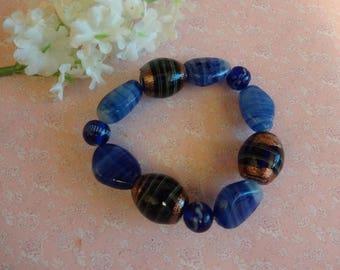Murano Foil Glass Bracelet, Venetian Glass Bracelet, Blue Glass Bracelet, Blue Glass Stretch Bracelet