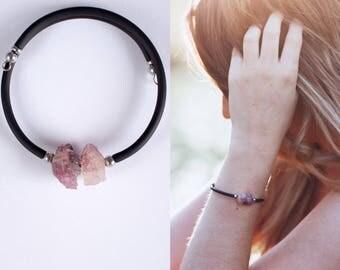 Turmaline Bracelet, Raw Turmaline, Watermelon Turmaline, Boho Bracelet, Gemstone Bracelet, Adjustable Bracelet, Stacking Bracelet