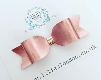 Rose gold hair bow