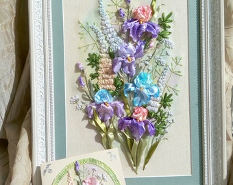 """Painting """"Irises"""" embroidery ribbons, hand-painted and painted ribbons, embroidery, irises flowers, lupine, purple irises. Made to order"""