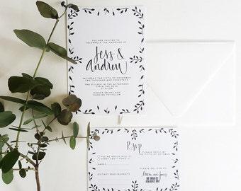 Black Symetrical INVITE/RSVP/ Watercolour Leaves/Handpainted/Hand Written/Monochromatic Invite