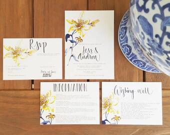 YELLOW LILY/Wedding Invitation/Event Invite/Rsvp Card/HANDPAINTED