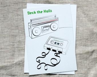 Retro Christmas Cards - Deck the Halls Christmas cards (10 pack), 80s Christmas Card, Hipster Christmas Card